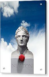 Issac Newton And The Apple, Artwork Acrylic Print by Victor Habbick Visions
