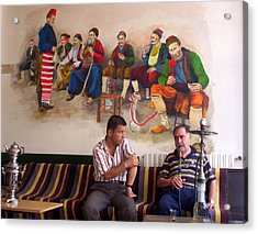 Acrylic Print featuring the photograph Istanbul Smokers by Lou Ann Bagnall