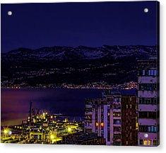 Istrian Riviera At Night Acrylic Print by Jasna Buncic