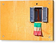 Italian Flag Window And Yellow Wall Acrylic Print by Silvia Ganora