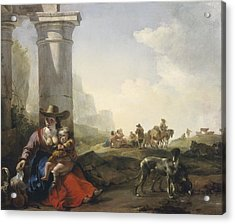 Italian Peasants Among Ruins Acrylic Print by Jan Weenix