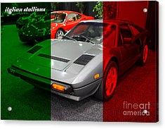 Italian Stallions . 1984 Ferrari 308 Gts Qv Acrylic Print by Wingsdomain Art and Photography