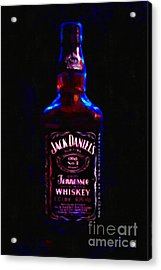 Jack Daniel's Tennessee Whiskey 80 Proof - Version 2 - Painterly Acrylic Print by Wingsdomain Art and Photography