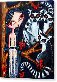Acrylic Print featuring the painting Jane And The Lemurs by Leanne Wilkes