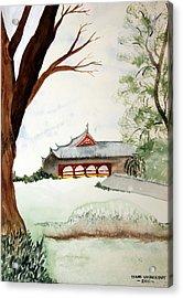 Japan House Acrylic Print by Diane Vasarkovy