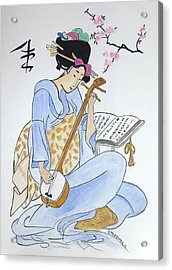 Japan Wood Block  Acrylic Print by Robert Tarzwell