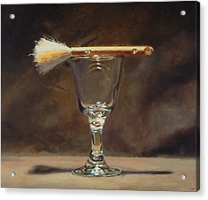 Japanese Brush And Wineglass Acrylic Print by Jeffrey Hayes