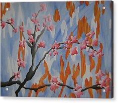 Japanese Cherry Blossoms Acrylic Print by Joanna Leack
