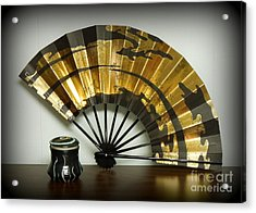 Japanese Fan And Pot Acrylic Print by Renee Trenholm