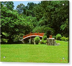 Acrylic Print featuring the photograph Japanese Garden Bridge 21m by Gerry Gantt
