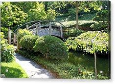 Japanese Garden Bridge Acrylic Print by Lynnette Johns