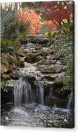 Waterfall In The Japanese Gardens, Ft. Worth, Texas Acrylic Print