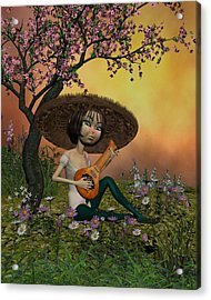 Japanese Musical Morning In The Garden Acrylic Print by John Junek