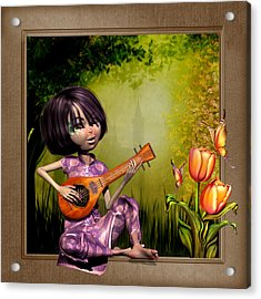 Japanese Woman Playing The Lute Acrylic Print by John Junek