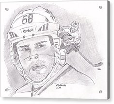 Acrylic Print featuring the drawing Jaromir Jagr by Chris  DelVecchio