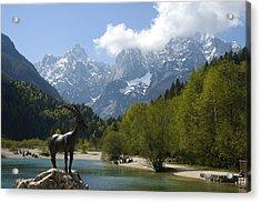 Jasna Lake In Julian Alps With Statue Of Mythical Chamois Zlatorog Acrylic Print by John Elk III