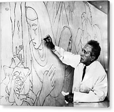 Jean Cocteau Works On A Mural Acrylic Print by Everett