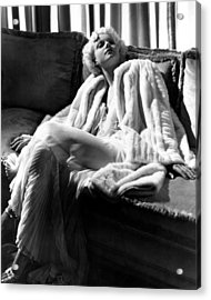 Jean Harlow In A White Gown And White Acrylic Print by Everett