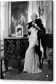 Jean Harlow With Photograph Acrylic Print by Everett