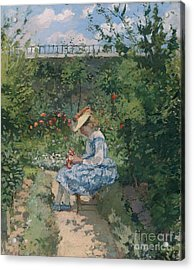 Jeanne In The Garden Acrylic Print by Camille Pissarro