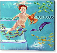 Acrylic Print featuring the painting Jeannie As A Baby Swimming As A Fish by Nancy Tilles