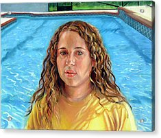 Acrylic Print featuring the painting Jeannie At The Pool by Nancy Tilles