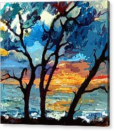 Jekyll Island Sunrise Painting Acrylic Print by Ginette Callaway