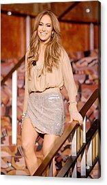 Jennifer Lopez Wearing A Haute Hippie Acrylic Print by Everett