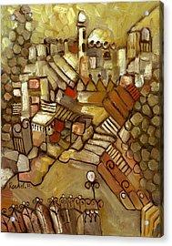 Jerusalem Of Gold Landscape Acrylic Print by Rachel Hershkovitz