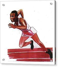 Jesse Owens Acrylic Print by Emmanuel Baliyanga
