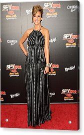 Jessica Alba Wearing A Dress By Dolce & Acrylic Print