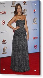 Jessica Alba Wearing A Dress By Michael Acrylic Print