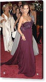 Jessica Alba Wearing A Marchesa Dress Acrylic Print