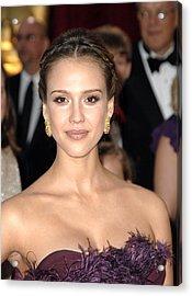 Jessica Alba Wearing Cartier Earrings Acrylic Print by Everett