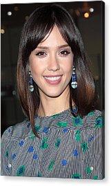 Jessica Alba Wearing Vintage Earrings Acrylic Print