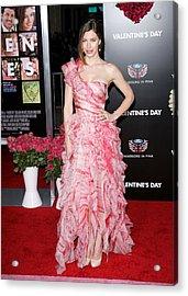 Jessica Biel Wearing An Oscar De La Acrylic Print by Everett