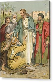 Jesus And The Blind Men Acrylic Print by English School