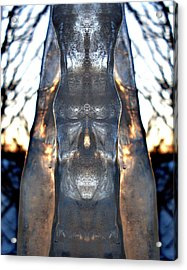 Jesus In An Icicle Acrylic Print by Wesley Hahn