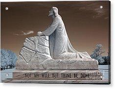 Jesus Kneeling Monument - Religious Christian Art - Jesus Praying Acrylic Print by Kathy Fornal