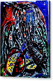 Acrylic Print featuring the painting Jesus Meets Mary On Calvary by Gloria Ssali