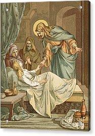 Jesus Raising Jairus's Daughter Acrylic Print by John Lawson