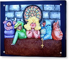 Jesus Save Us. The Devil Has Come To Church Acrylic Print by Alison  Galvan