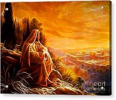 Jesus Thinking About People Acrylic Print by Pamela Johnson