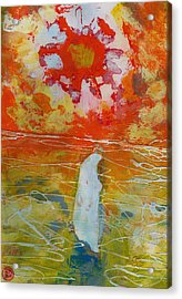 Jesus Walking On The Water Comtemplating Acrylic Print by Daniel Bonnell