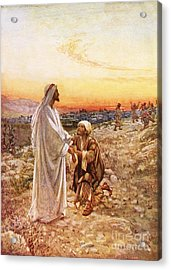 Jesus Withe The One Leper Who Returned To Give Thanks Acrylic Print by William Brassey Hole