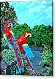 Acrylic Print featuring the painting Jewels Of The Amazon by Fram Cama
