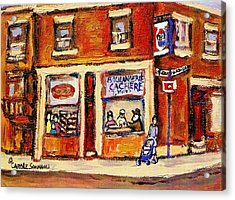 Jewish Montreal Vintage City Scenes Hutchison Street Butcher Shop  Acrylic Print by Carole Spandau