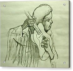 Jimi Sketch Acrylic Print by Pete Maier