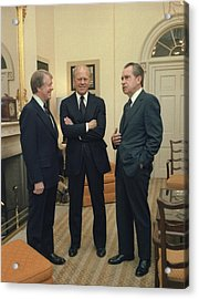 Jimmy Carter Gerald Ford And Richard Acrylic Print by Everett
