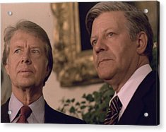 Jimmy Carter Meeting With German Acrylic Print by Everett